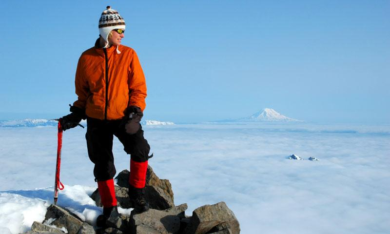 At the top of Mount Rainier in Washington